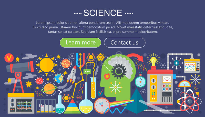 Flat design concept of science. Horizontal banner with scientist workplaces. Scientific research experiment infographics royalty free illustration