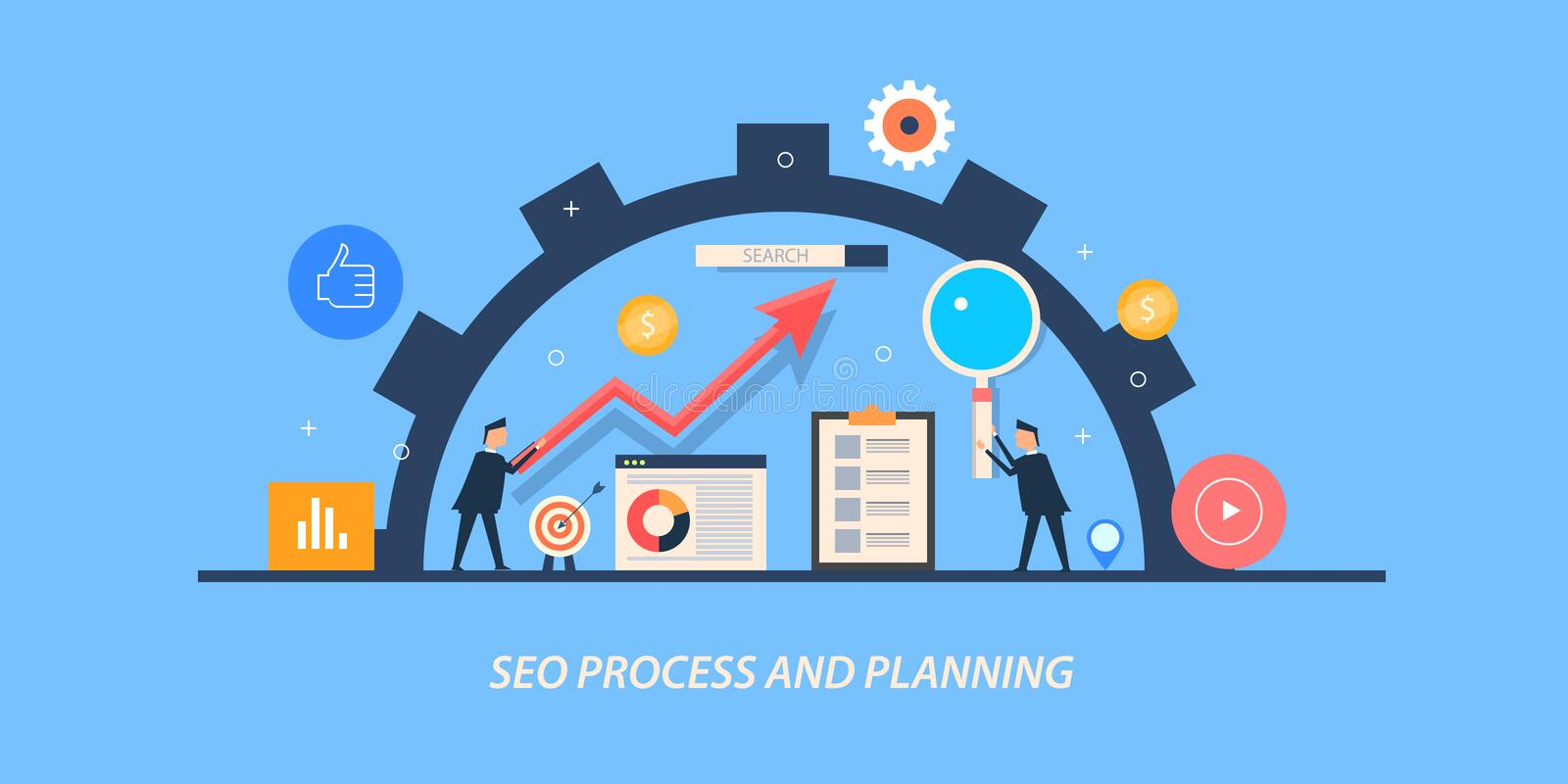 Flat design concept of search engine optimization, businessmen planning an ongoing seo process. Modern concept of search engine optimization and seo marketing vector illustration