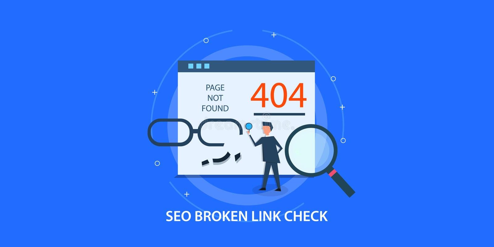 Flat design concept of seo, 404 page not found, man fixing broken link. Modern concept of seo broken link analysis, man fixing 404 page, search engine vector illustration
