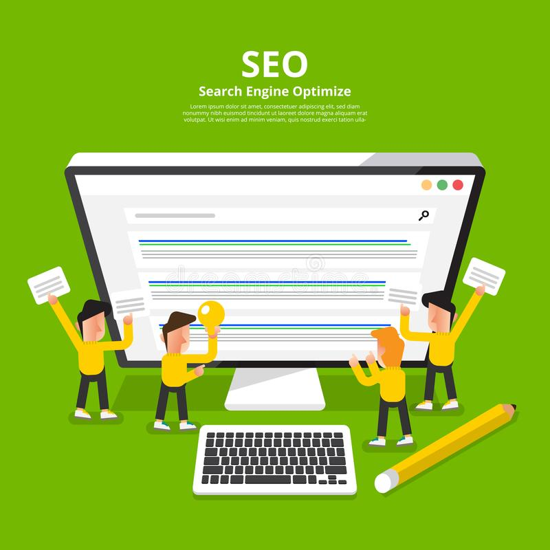 Flat design concept SEO (search engine optimize). Vector illustrate. vector illustration