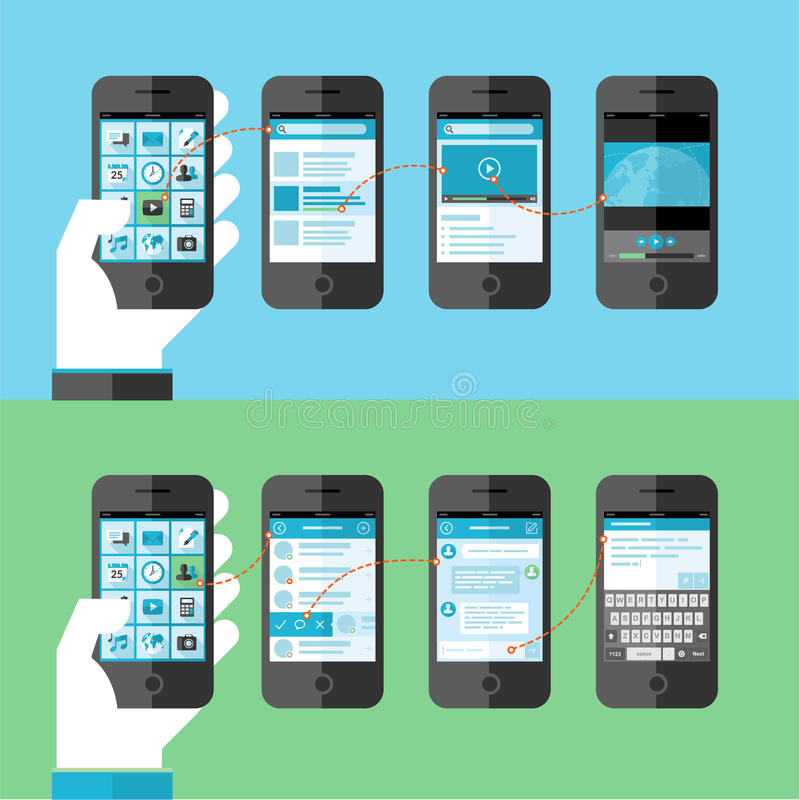 Flat design concept for smart phone services and a vector illustration