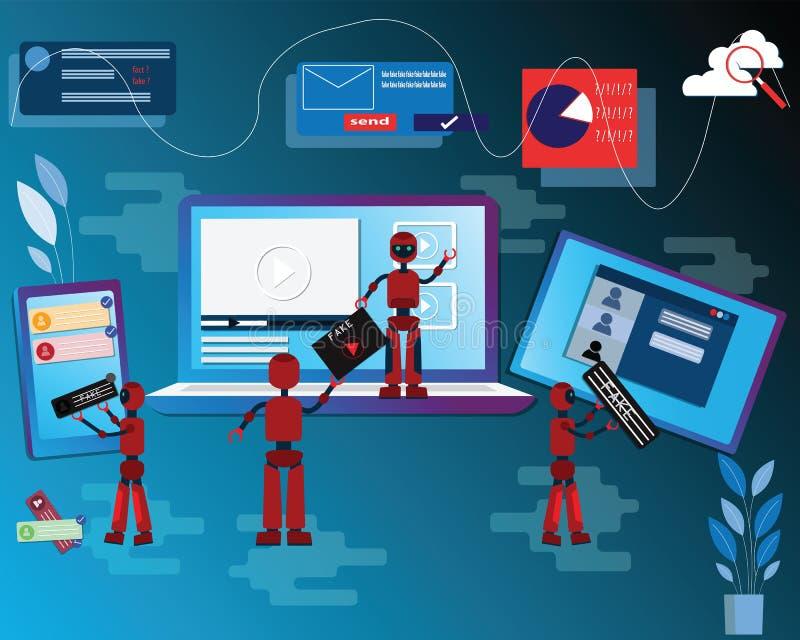 Flat design concept of social application and fake news,online technology,Fake news on social media platform, Used intelligence. Machine making fake news,vector royalty free illustration