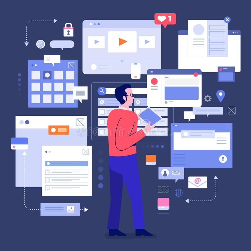 Socila media monitor tools. Flat design concept social media monitoring and analysis by people digital business marketing working with visualize. Vector royalty free illustration