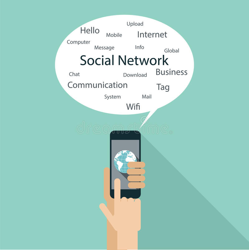 Flat design concept for social network. Hand holding smart phone and speech bubble for your sample text vector illustration