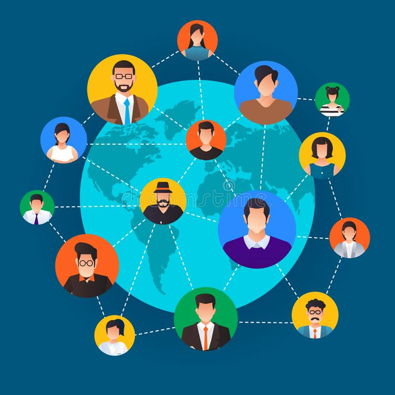 Flat design concept social network. Peoples connecting around th vector illustration
