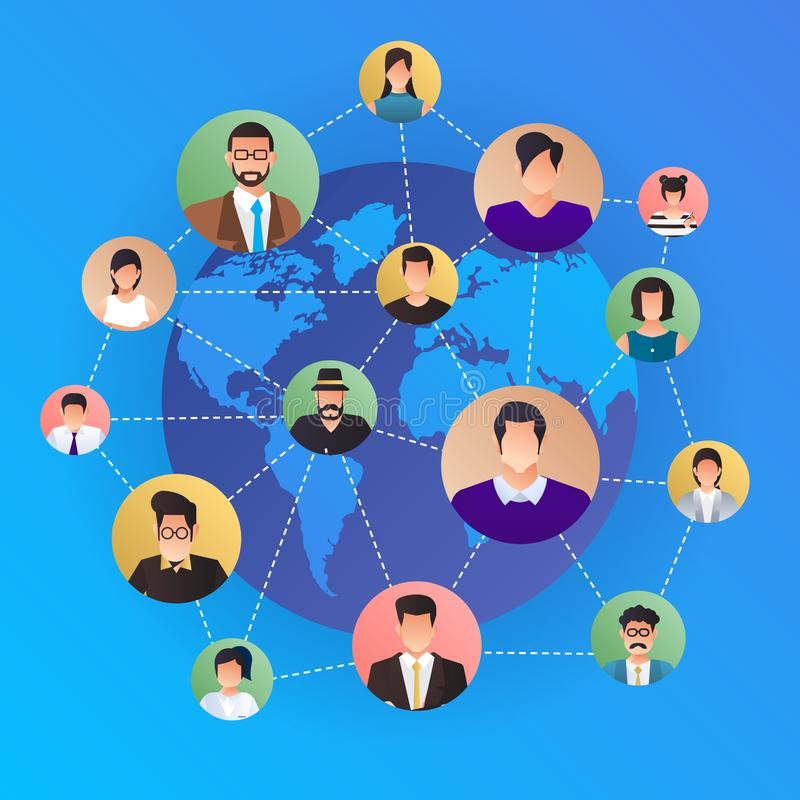 Flat design concept social network. Peoples connecting around th stock illustration