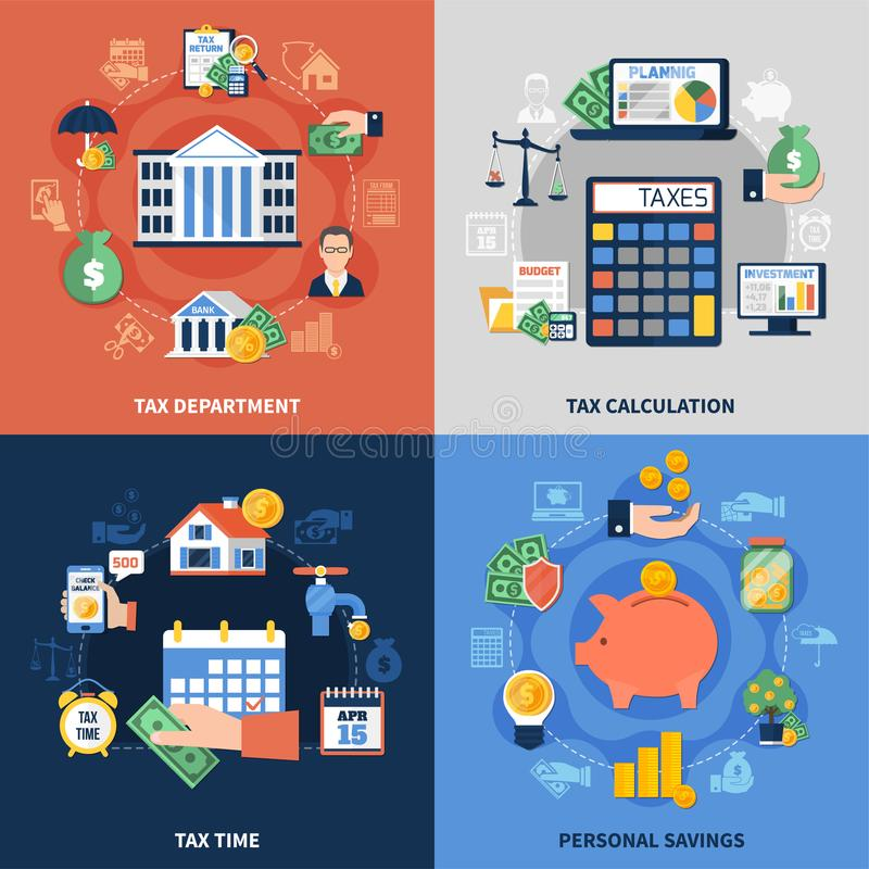 Tax Design Concept. Flat design concept with tax department, burden calculation and payment time, personal savings isolated vector illustration vector illustration
