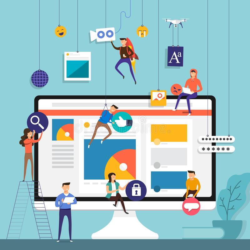 Flat design concept team working for building social media application on mobile. Vector illustrate vector illustration