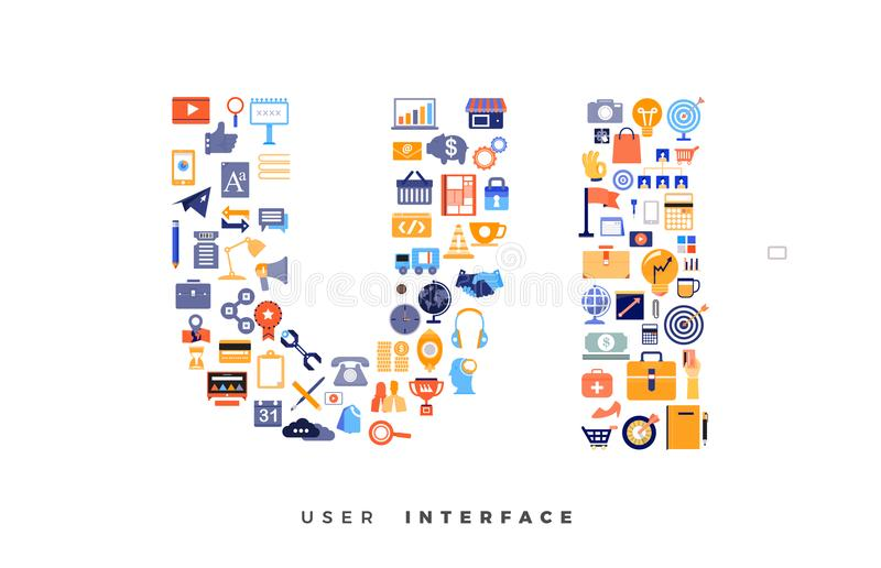 Icons combination to UX / UI vector illustration