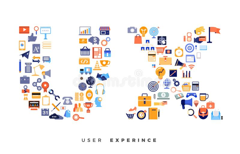 Icons combination to UX / UI royalty free illustration