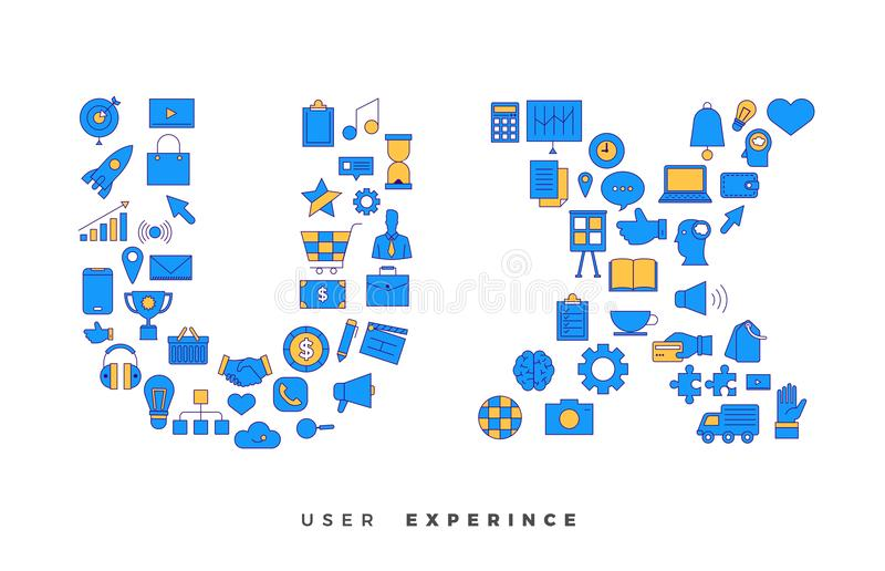 Icons combination to UX / UI. Flat design concept vector icons combination to shape of word UX ( User Experience ). Vector illustrations royalty free illustration