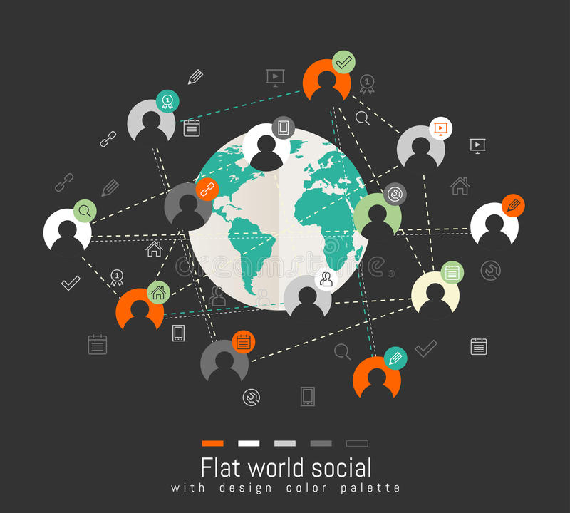Flat design concept with world map and social network concept royalty free illustration