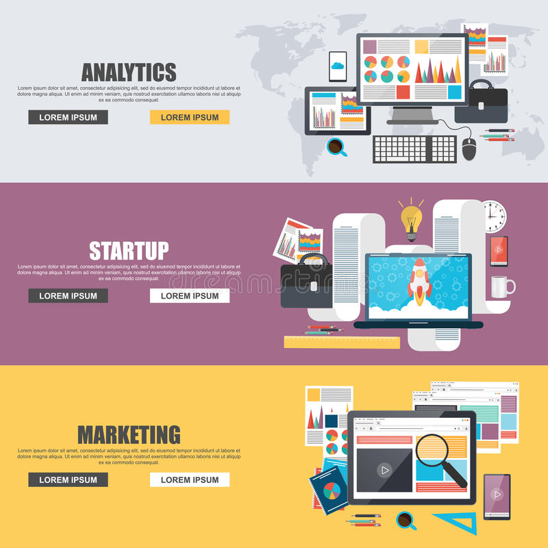 Flat design concepts for business marketing, analytics, teamwork, analysis, strategy and startup stock illustration