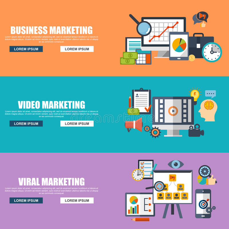 Flat Design Concepts For Business Marketing Viral Video Production