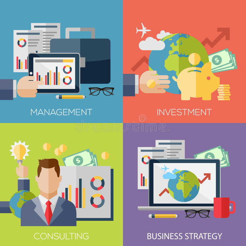 Flat design concepts for business strategy stock illustration