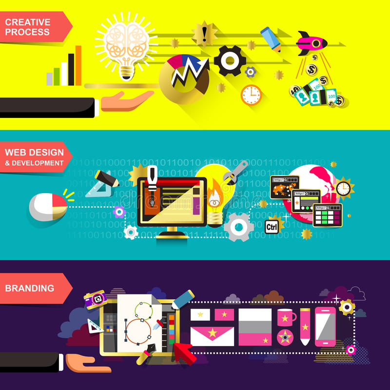 Flat design concepts for creative process stock illustration