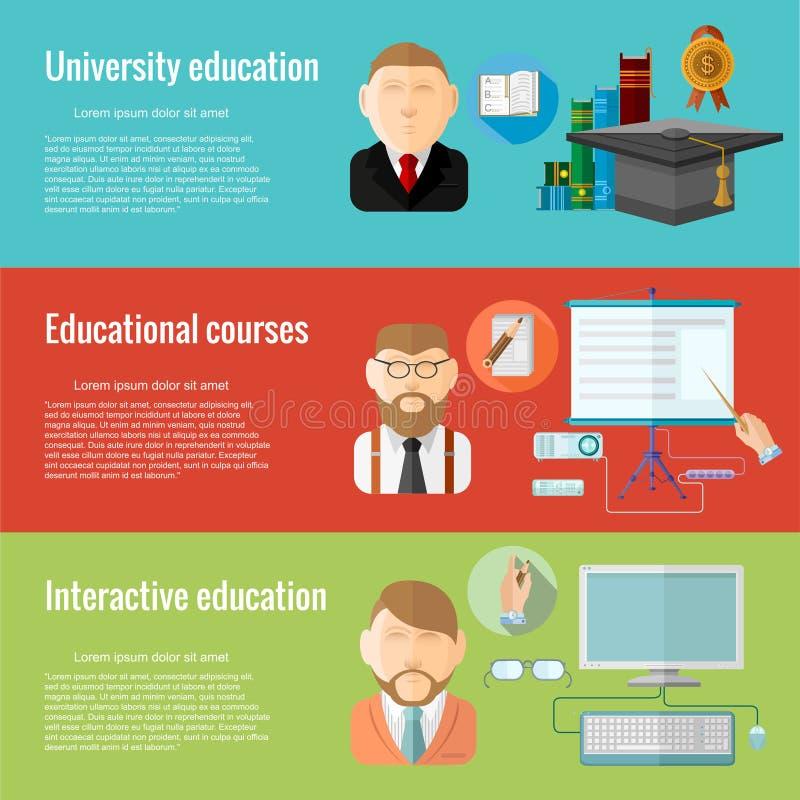 Flat design concepts for defferent education university education, educational courses, interactive educationa. Concepts for web banners and promotional stock illustration