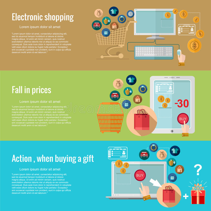 Flat design concepts for e-shopping.electronic shopping, fall in prices, action when buying a gift vector illustration