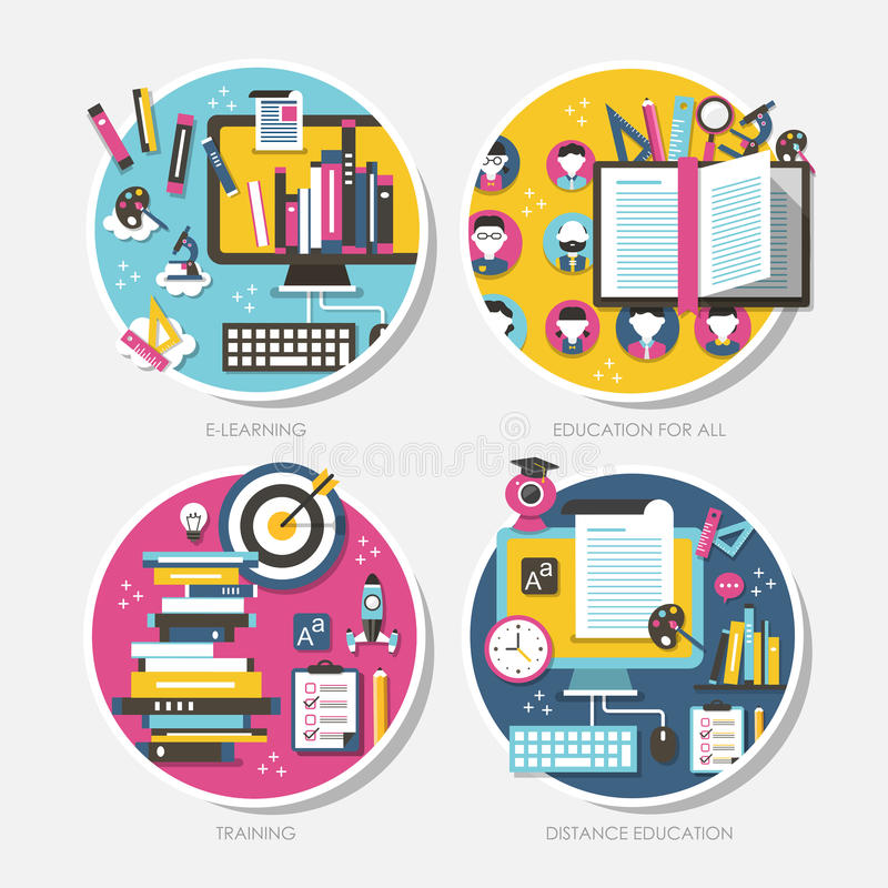 Flat design concepts for education royalty free illustration