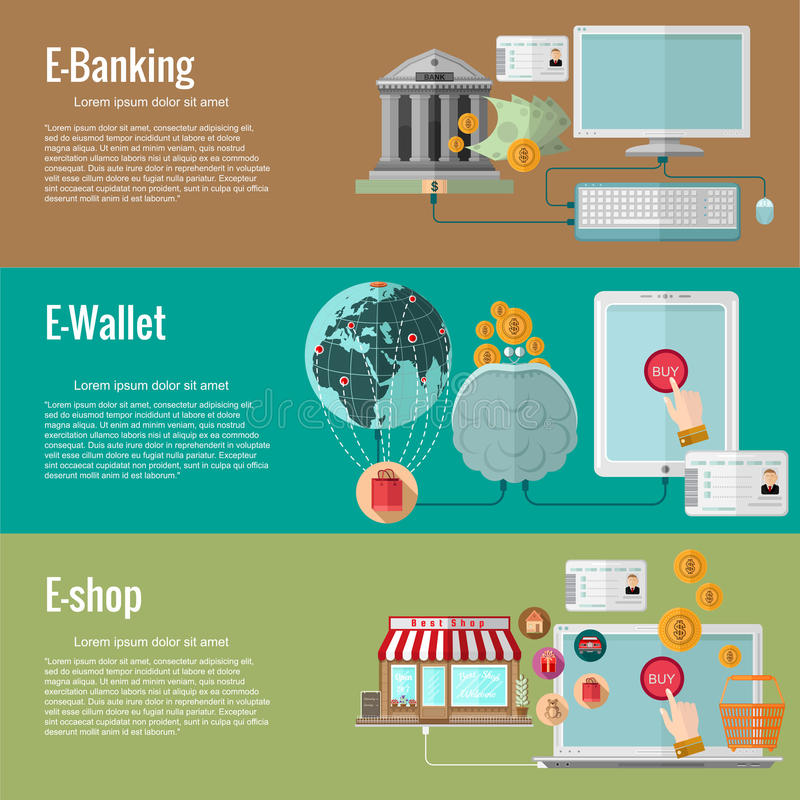 Flat design concepts for electronic money services.e-banking royalty free illustration