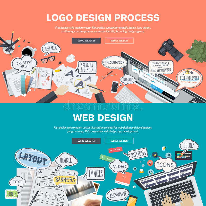 Flat design concepts for logo design and web design development vector illustration