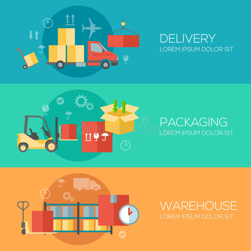 Flat design concepts for warehouse, packing stock illustration