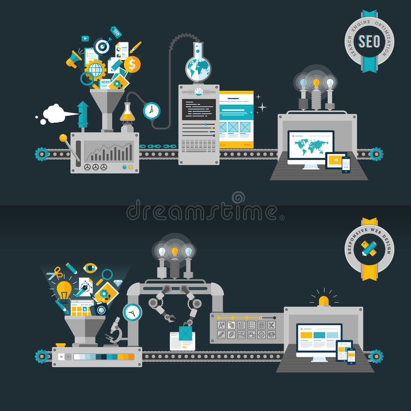 Flat design concepts for web and SEO royalty free illustration