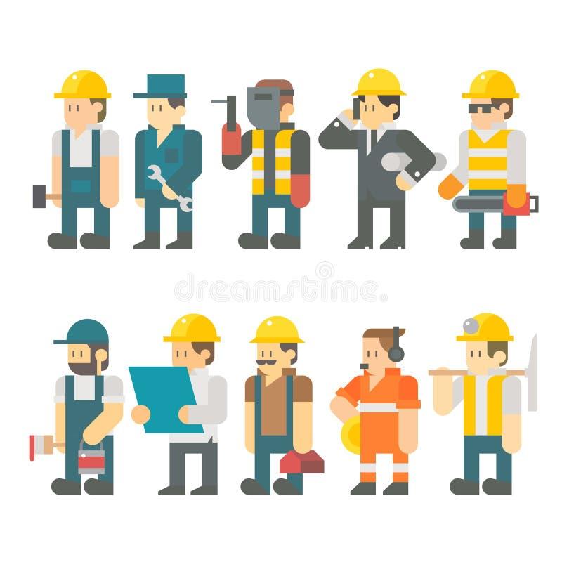 Flat Design Of Construction Worker Set Stock Vector ...