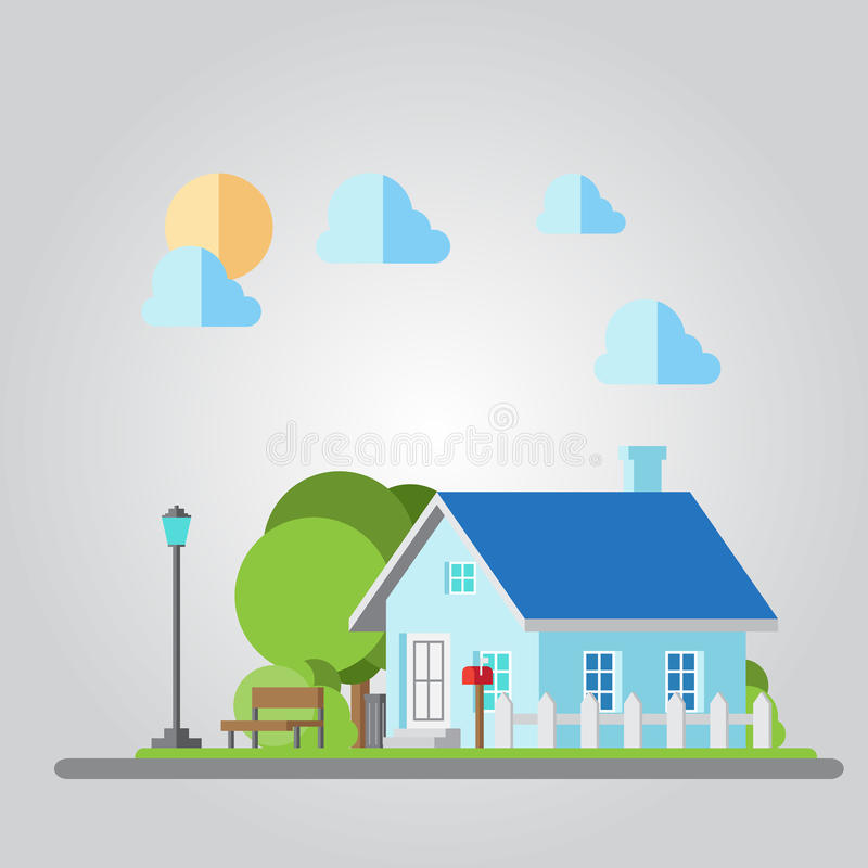 Flat design countryside house illustration vector illustration