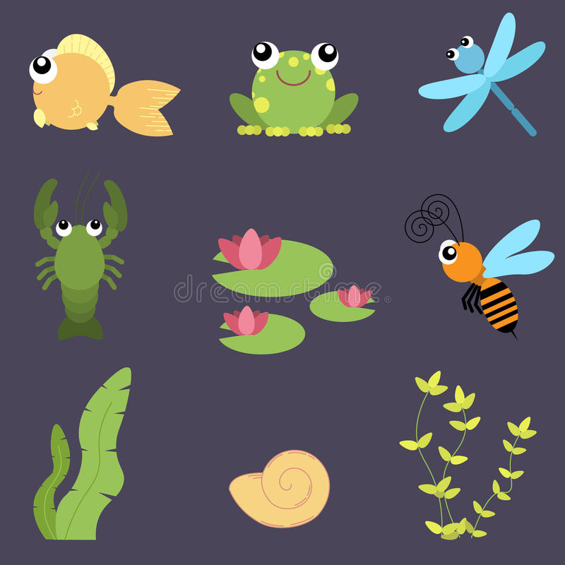 Flat design cute animals set. River life: fish, frog, dragonfly, crayfish, bee, water lily, shells vector illustration
