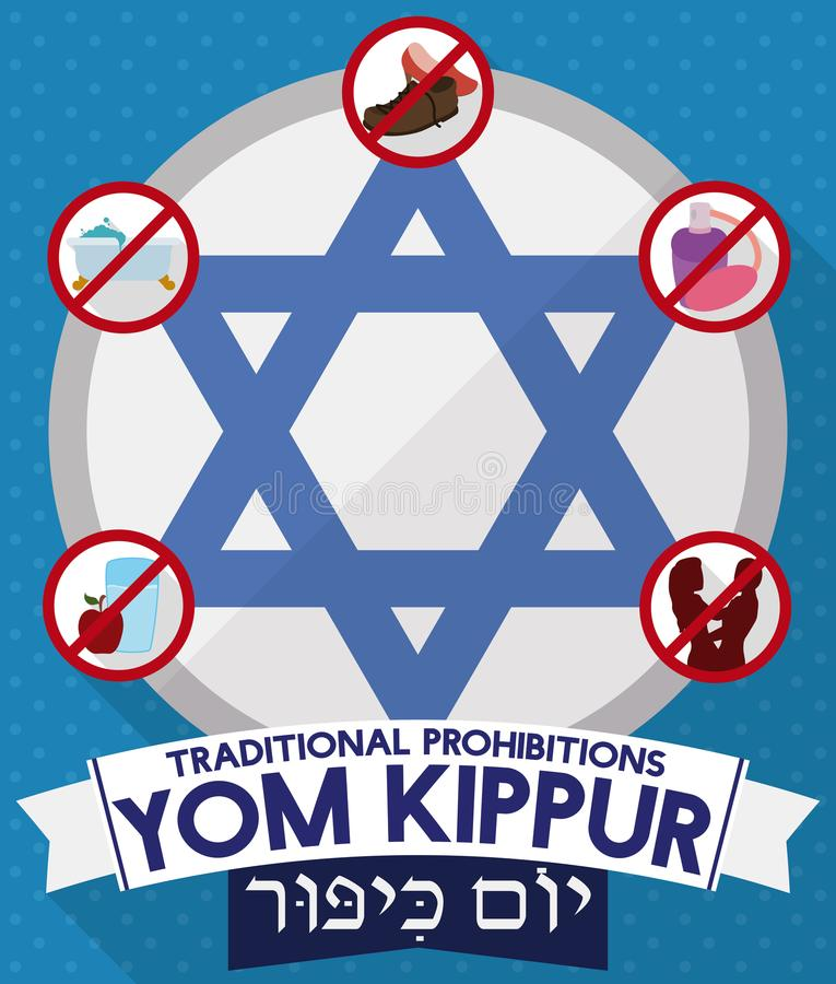 Davids star with prohibitions and greeting ribbons for yom kippur download davids star with prohibitions and greeting ribbons for yom kippur vector illustration m4hsunfo