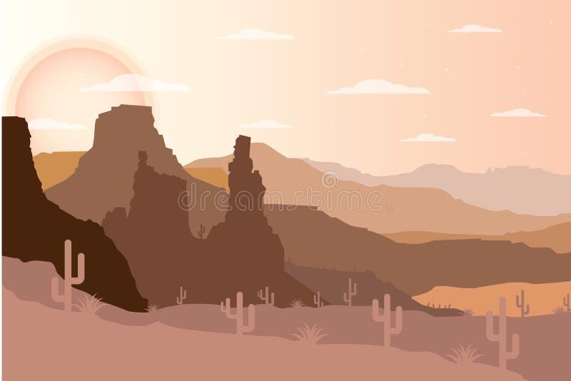 Flat design desert landscape illustrator. Landscapes of the desert. Flat design desert landscape illustrator . Landscapes of the desert at noon scenery vector illustration
