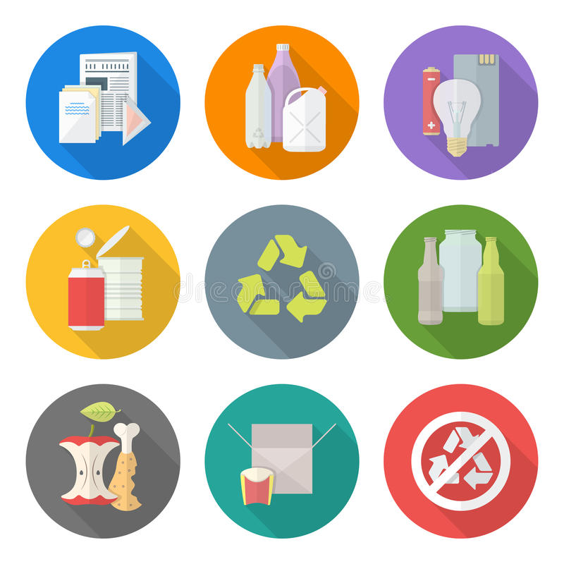Flat design different waste recycle separate collection. Vector flat style various waste colored groups long shadow icons set for separate collection and recycle vector illustration