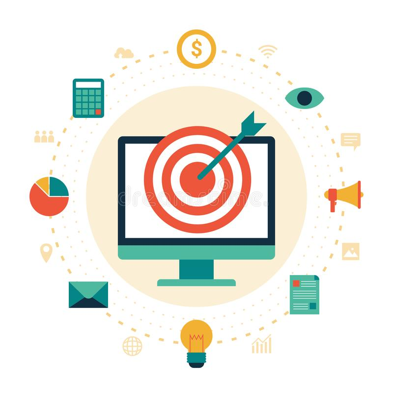 Flat design digital marketing icon set with computer and success business target stock illustration