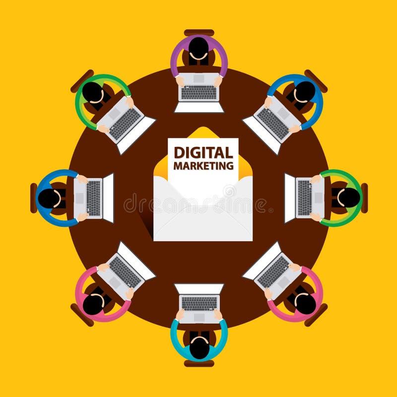 Flat design, E-mail marketing concept, Digital Marketing, Teamwork, vector stock illustration