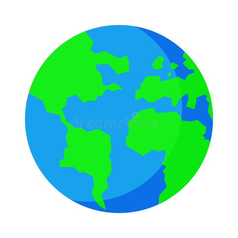 Flat design Earth on a white background. Isolated vector illustration. royalty free stock photo