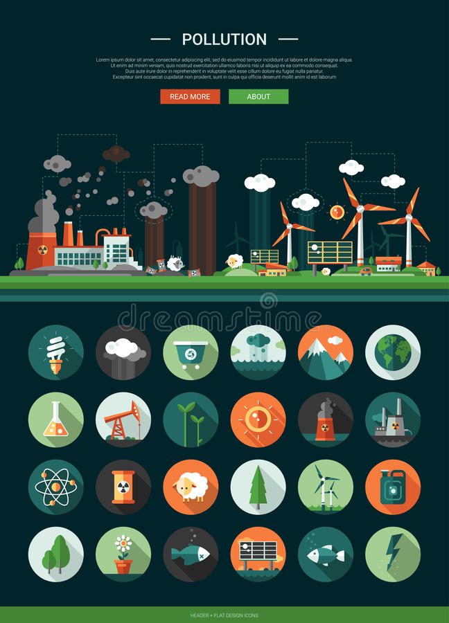 Flat design ecological icons with header and infographics elements stock illustration