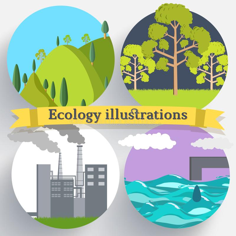 Flat design of ecology, environment, green clean energy and pollution backgrounds. Vector concept illustration vector illustration