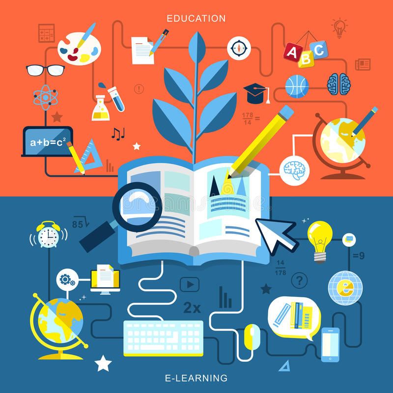 Flat design of education and e-learning vector illustration