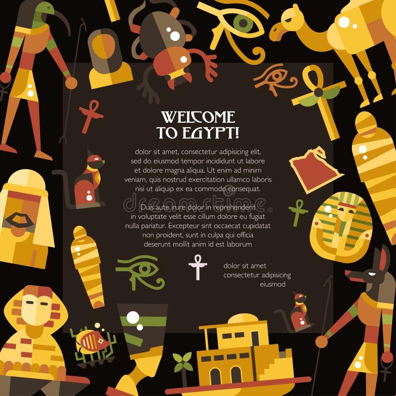 Flat design Egypt travel postcard with famous Egyptian symbols icons vector illustration
