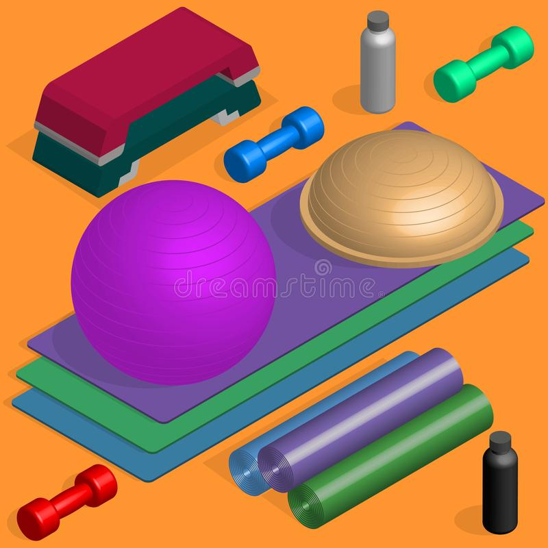 Flat design elements for fitness, vector illustration. Set of sports equipment items. Elements design for gym and fitness room. Flat 3D isometric style, vector stock illustration