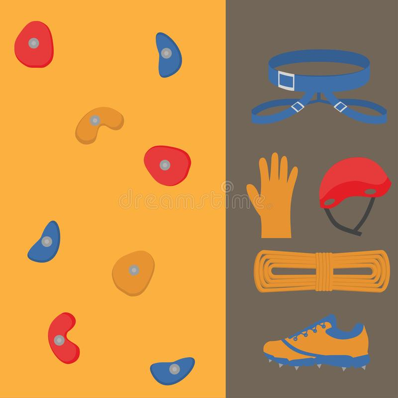 Flat design elements of rock climber. Set with accessories and equipment. Hiker Instrument . devices. Cloths vector illustration