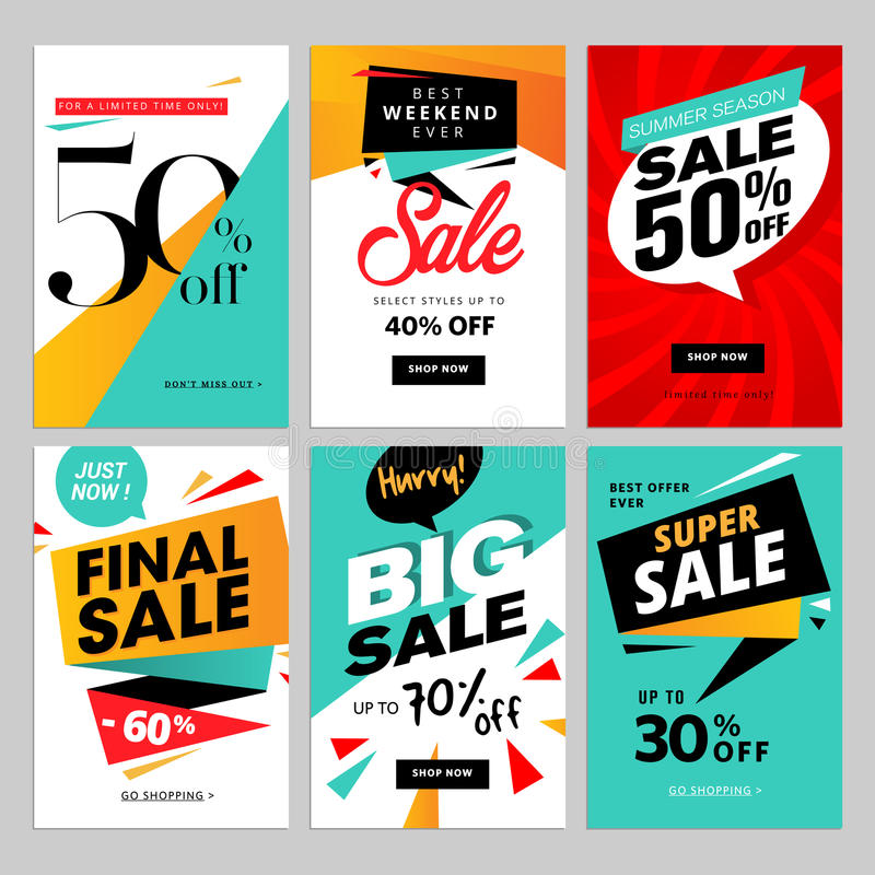 Flat design eye catching sale website banners for mobile phone stock illustration