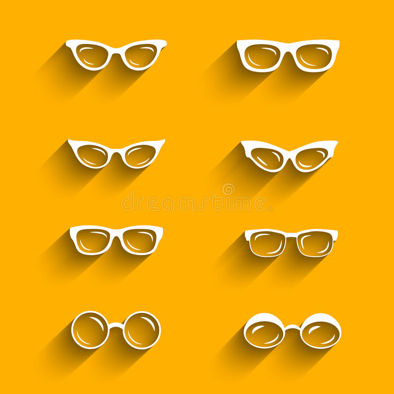 Free Flat Design Eyeglasses Vector Set With Shadows Stock Photography - 43532152