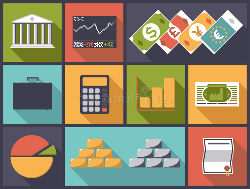 Flat Design Financial Business Vector Illustration royalty free illustration