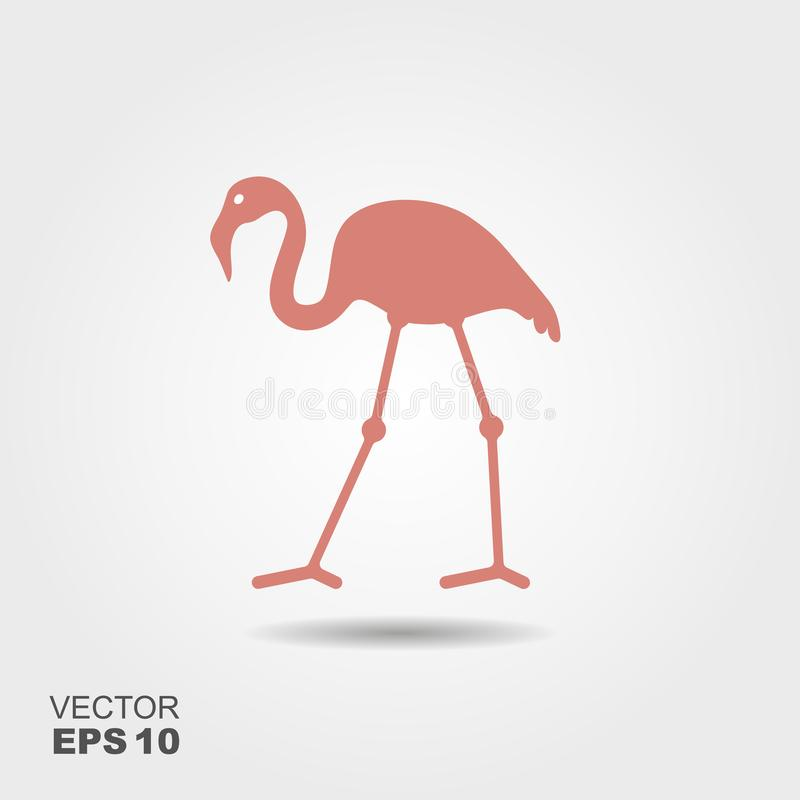 Flat design flamingo Icon. royalty free illustration