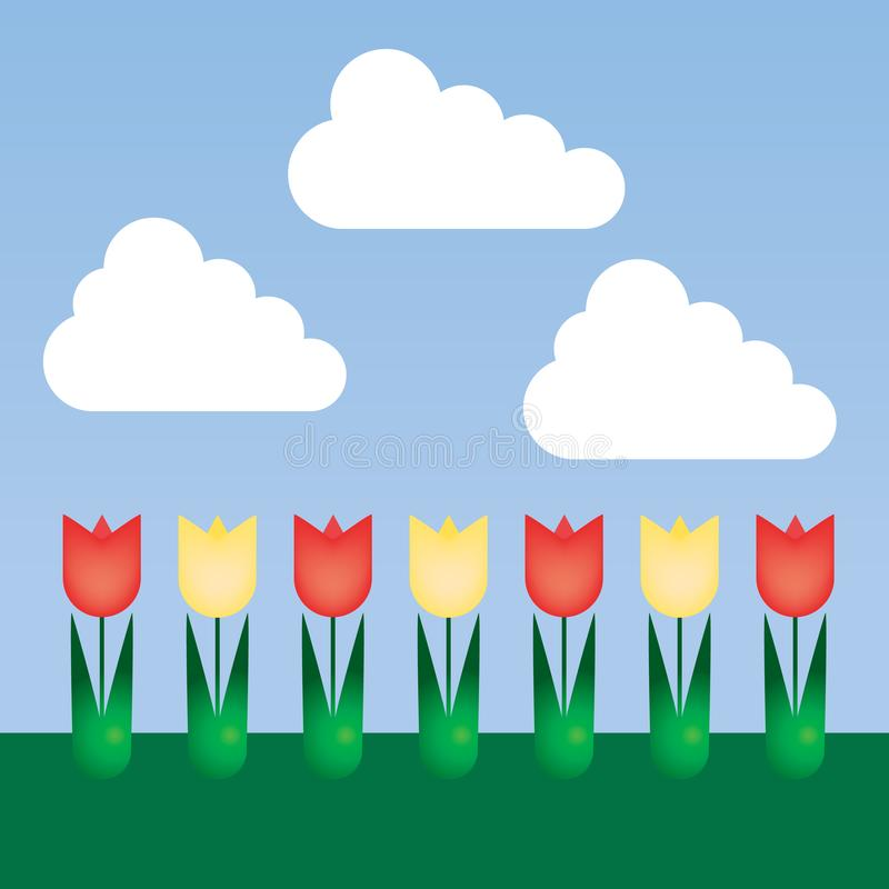 Flat design floral bed with tulips and colorful flowers with green leaves on lawn, under blue sky with clouds, with space for you stock illustration