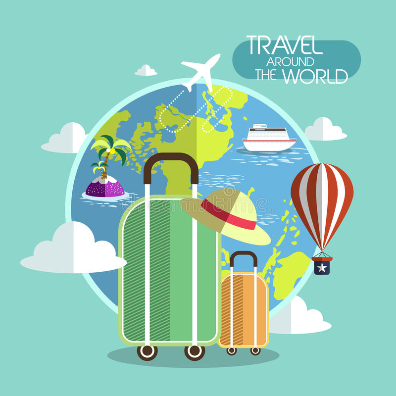 Free Flat Design For Travel Around The World Concept Stock Image - 44064701