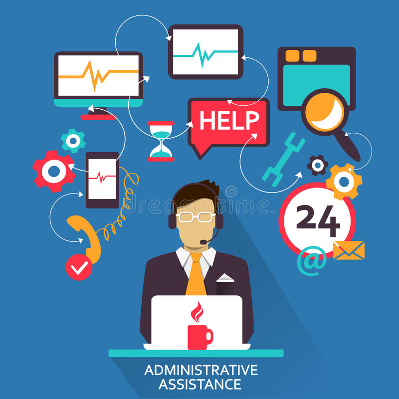 Flat design . Freelance career. Administrative assistance. vector illustration
