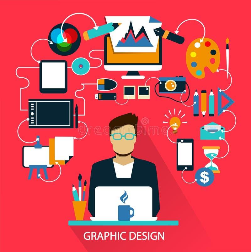 Flat design . Freelance career. Graphic design. stock illustration
